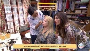 Aprenda a fazer maquiagem para pele madura - A maquiadora Aline Paranhos ensina truques para Patrícia Poeta