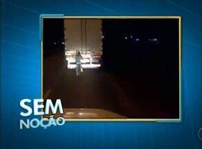 Flagrante: ciclista pegando carona em rabeira de caminhão em Araguaína - Flagrante: ciclista pegando carona em rabeira de caminhão em Araguaína