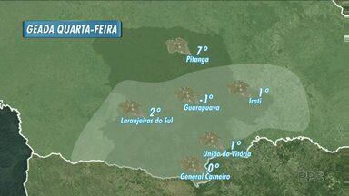 Tem previsão de geada pra esta semana em Guarapuava e região - As temperaturas mínimas vão cair ao longo dos próximos dias. A partir de quarta-feira, a previsão é de geada.