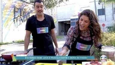 Priscila Fantin aprende a fazer bife e macarrão - Atriz elogia os dotes culinários de Joaquim Lopes e também decide fazer uma panqueca ao vivo