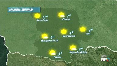 Veja como fica o tempo nesta quarta-feira na região de Guarapuava - As mínimas voltam a subir na região e a previsão é de sol.