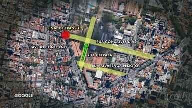 Mobicentro realiza obras de trânsito no bairro Barro Preto, no centro de Belo Horizonte - A Rua Uberaba, entre as ruas Alvarenga Peixoto e Gonçalves Dias, vira mão única.