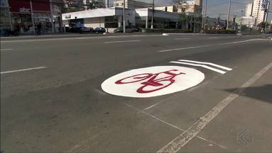 Settra começa pintura de 'ciclorrotas' em Juiz de Fora - Projeto foi lançado na semana passada e propõe a sinalizaçãode rotas para bicicletas em dez locais da cidade.