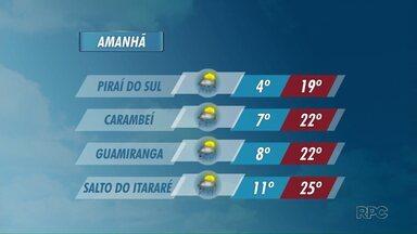 Quinta-feira tem previsão de chuva, na região de Ponta Grossa - As temperaturas continuam baixas. Em Piraí do Sul, a mínima prevista é de 4 graus.