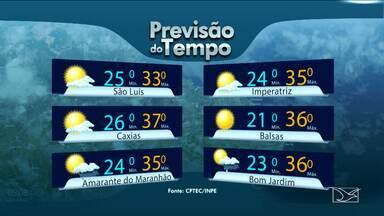 Veja a previsão do tempo para esta segunda-feira (4) no MA - Em Caxias, sol entre poucas nuvens e sem possibilidade de chuvas e com muito calor. A máxima de 37 graus. Em Amarante do Maranhão predomínio de sol no período da tarde com máxima de 35 graus.