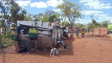 Famílias fazem acampamento improvisado no DF - Dezenas de barracos, onde vivem cerca de 70 famílias, estão ocupando local em frente a condomínio.
