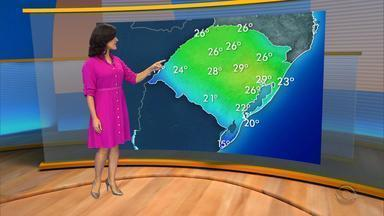 Chuva avança pelo RS e derruba as temperaturas nesta terça-feira (5) - Em Porto Alegre ainda fará calor, a máxima será de 29ºC.