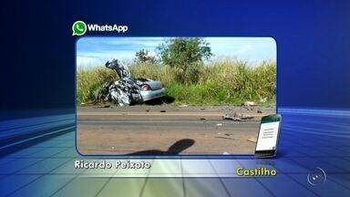 Mulher morre em acidente entre carro e caminhão em Castilho - Uma mulher de 49 anos morreu em um grave acidente na tarde desta terça-feira (5) na rodovia dos Barrageiros, em Castilho (SP). Segundo informações da polícia, o acidente envolveu um veículo de passeio e um caminhão.