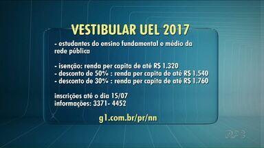 UEL recebe inscrições para pedidos de isenção da taxa do vestibular - O prazo vai até o dia 15 deste mês e é para alunos pobres que frequentaram a rede municipal de ensino.