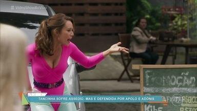 Tancinha sofre assédio e é defendida por Apolo e Adônis - Personagem de Mariana Ximenes sai de casa vestida com uma antiga roupa de balé de Francesca e chama atenção em 'Haja Coração'