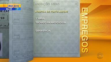 Empregos: hospital de Porto Alegre tem uma vaga para técnico em radiologia - Oportunidade exige que candidato tenha experiência.