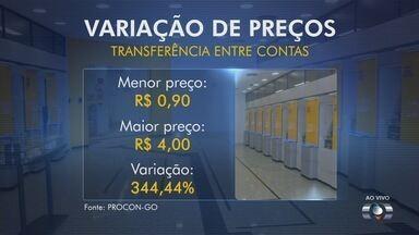 Variação das tarifas bancárias chega a 344%, alerta pesquisa do Procon-GO - Levantamento foi feito na cobrança de 19 serviços em 9 bancos de Goiás. Segundo órgão, valores representaram aumento de 14% em relação a 2015.