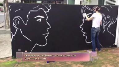 Telão do 'Encontro': Grazie exibe seus trabalhos - Grafiteira usa técnica que lembra aquarela em obras retratam o universo feminino