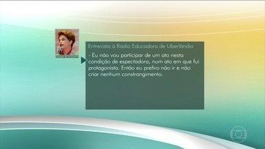 """Dilma Rousseff diz que não vai à cerimônia de abertura da Olimpíada do Rio - """"Eu não vou participar de um ato nesta condição de espectadora, num ato em que fui protagonista. Então, eu prefiro não ir e não criar nenhum constrangimento"""", disse a presidente afastada Dilma Rousseff."""