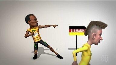 Usain Bolt dá um incentivo para Neymar - Depois de se consagrar nas Olimpíadas, o atletista Usain Bolt resolveu incentivar Neymar para a final olímpica contra a Alemanha. Será que agora vai?