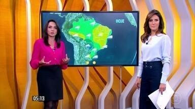 Confira como fica o tempo nesta segunda-feira (5) em todo o país - Sol aparece, mas tem chance de pancadas de chuva em toda a Região Sul, em São Paulo e no Sul de Minas Gerais. Mato Grosso do Sul tem céu mais encoberto.