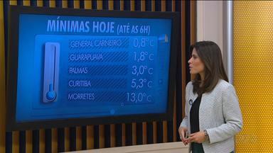Tempo: Paraná amanhece gelado em todo o Paraná - Menor temperatura foi registrada em General Carneiro com sensação térmica de -1°C.