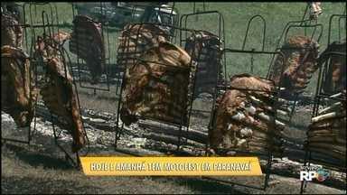 Participantes do Motofest tem hoje almoço a base de costela ao fogo de chão - A festa segue até amanhã e é no Parque de Exposições de Paranavaí.