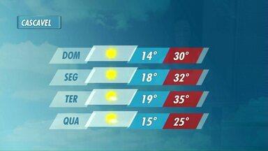 Calor vai aumentar ainda mais nos próximos dias - Na terça-feira a máxima em Cascavel deve chegar aos 35ºC.