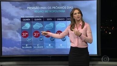 Rio deve ter mais um dia de calor intenso nesta quarta-feira (14) - Na quarta-feira, a máxima deve chegar aos 37 graus. Na quinta-feira (15), o tempo muda e tem previsão de chuva isolada.