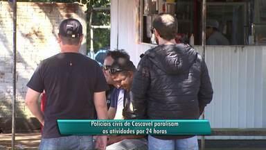 Policiais civis de Cascavel paralisam as atividades por 24 horas - Durante este período, apenas flagrantes estão sendo atendidos.