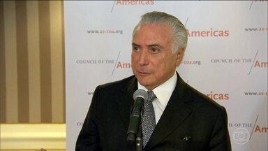 Temer diz a investidores que a estabilidade política vai ajudar a economia - Em Nova York, o presidente Michel Temer tratou de atrair investidores para o Brasil com um argumento central: o da estabilidade política.