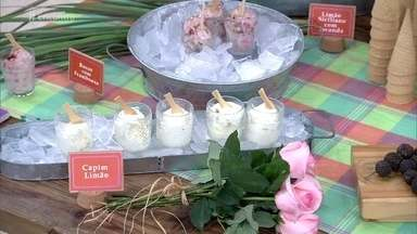 Para comemorar a primavera, Rusty Marcelini leva sorvete de flores para o 'Encontro'