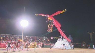 Boi Flor do Campo se apresenta na 1ª noite do 20º Duelo da Fronteira - Evento é realizado no bumbódromo de Guajará-Mrirm.