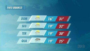 Pode chover em Pato Branco na próxima semana - A previsão de chuva é até quarta