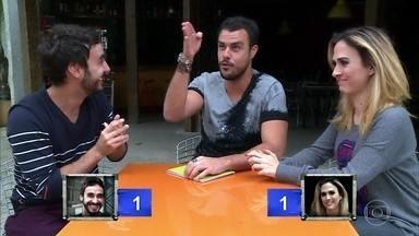 Joaquim Lopes faz teste de afinidade com Tatá Werneck e Gabriel Godoy - O ator vence a brincadeira
