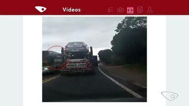 Vídeo mostra caminhão fazendo ultrapassagem perigosa na BR-259, em Colatina - Imagem foi gravada nesta terça-feira (1).