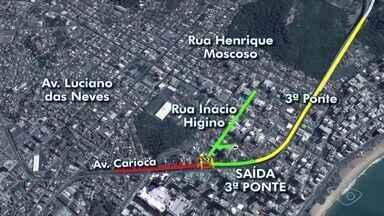 Avenida Carioca será interditada para obra em Vila Velha, ES - Trânsito na descida da 3ª Ponte, sentido Vitória-Vila Velha, Velha será desviado.