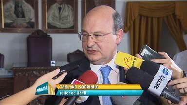 Reitor da UFPR, Zaki Akel Sobrinho, fala sobre as ocupações - 8 prédios da UFPR estão ocupados por estudantes que protestam contra a PEC que limita os gastos públicos e contra a reforma do ensino médio.
