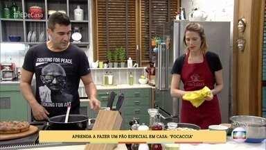 André Marques prova receita de 'focaccia' - A padeira Flávia Maculan mostra como se faz o tipo de pão