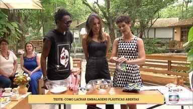 Patrícia Poeta testa formas de lacrar embalagens plásticas abertas - Gabi Freitas mostra 4 maneiras que podem funcionar