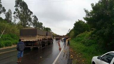 Caminhão carregado com laranjas tomba e carga fica espalhada na pista - Um caminhão de laranjas tombou na rodovia que liga Jaú a Bocaina (SP), na madrugada deste domingo (13). Segundo informações da Polícia Rodoviária, a pista estava molhada e o motorista perdeu o controle do veículo, que virou na pista.