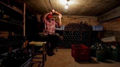 Jovem faz sucesso produzindo vinho na garagem de casa - Paixão que começou na infância e agora se tornou realidade. Produtor Eduardo Zenker produz cerca de 6 mil garrafas da bebida por ano.