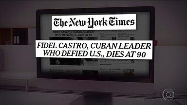"""Morte de Fidel Castro repercute nos EUA e na Europa - Desde a revolução, a relação de Cuba com os Estados Unidos foi delicada. Donald Trump limitou-se a escrever em uma rede social: """"Morre Fidel Castro!"""". Jornais americanos e europeus destacam a morte do ex-presidente de Cuba."""
