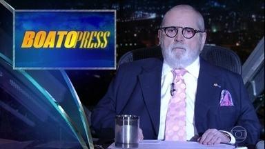Jô Soares começa o programa comentando as notícias da 'Boato Press' - Jô fala de absurdos ao redor do mundo