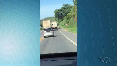 Turista de SP filma imprudência de motorista de caminhão no ES - As imagens foram feitas na BR 101.