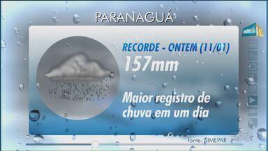 Paranaguá registra volume recorde de chuva - A chuva forte alagou ruas e obrigou várias pessoas a saírem de casa. A defesa civil teve muito trabalho durante a madrugada.