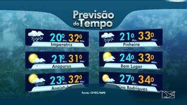 Veja a previsão do tempo para esta quarta-feira (18) no MA - Tempo parcialmente nublado em toda região sul do Maranhão e chuva prevista para todo o dia em Imperatriz com temperatura mínima de 20 graus.