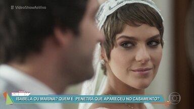 Confira os bastidores do casamento de Tiago e Letícia em 'A Lei do Amor' - Personagem de Alice Wegmann reaparece no meio da cerimônia e se apresenta como Marina
