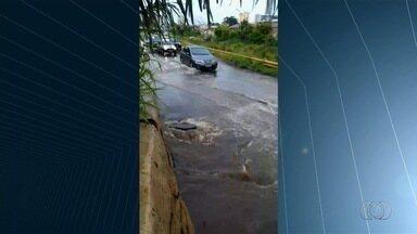 Chuva causa estragos em ruas e casas de Goiânia - Moradores da capital enviam imagens de ruas alagadas e árvores caídas.