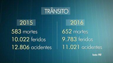 Relatório da PRF aponta que o número de mortes em 2016 nas estradas paranaense aumentou - Em 2015 foram 583, já em 2016 o número de mortes nas estradas subiu para 652. O número de acidentes diminuiu.
