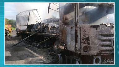 Acidente grave deixa um morto e vários feridos na BR-376 na região de Mauá da Serra - Quatro veículos se envolveram no acidente: dois caminhões, uma caminhonete e um ônibus.
