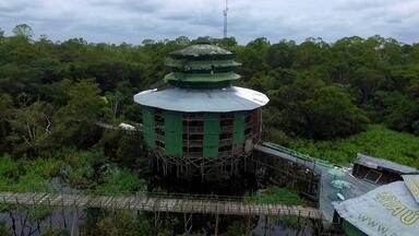 Abandonado, hotel no coração da Floresta Amazônica ainda impressiona - Às margens do rio Negro, a 60 quilômetros de Manaus, reportagem encontra o que restou do maior hotel de selva do Brasil, o Ariaú Amazon Towers.