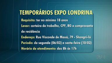 ExpoLondrina vai contratar 350 temporários durante os dias de festa - A seletiva começa na segunda-feira (6) da semana que vem e vai até o dia 10 de março.