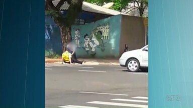 Homem que agrediu agente de trânsito é identificado pela polícia - O fato ocorreu em Maringá, o vídeo com a agressão está sendo compartilhado em muitas redes sociais.