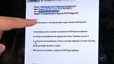 Criminosos espalham falso e-mail sobre saque das contas inativas do FGTS - Com a notícia da liberação do dinheiro que estava nas contas inativas do FGTS, criminosos estão usando a internet para espalhar um falso e-mail. E em apenas um clique, todos os dados pessoas, números de contas e de cartões que estavam registrados no seu computador podem estar com os cibercriminosos.
